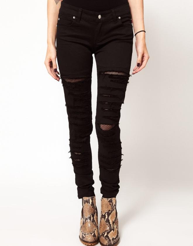 asos jeans skinny strappati