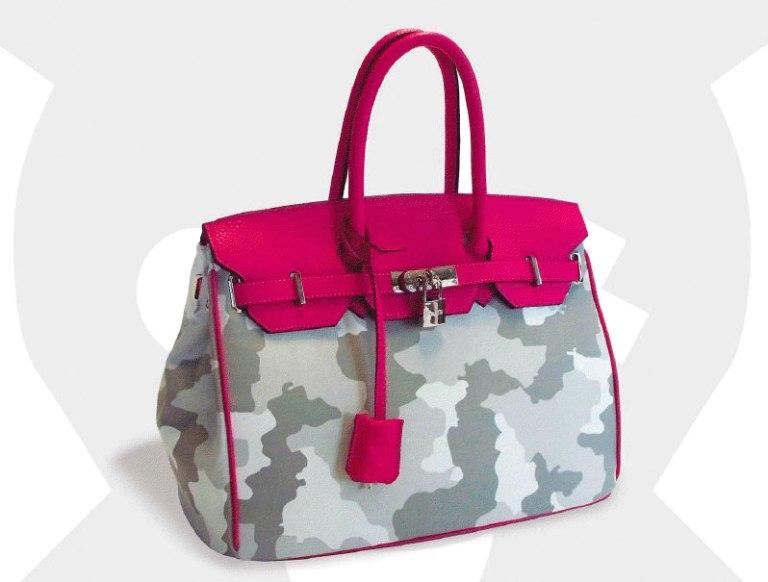 mumi bag, nessy, birkin, grey camo with fucsia, birkin fucsia, borsa militare, borsa mimetica, fantasia mimetica, birkin mimetica