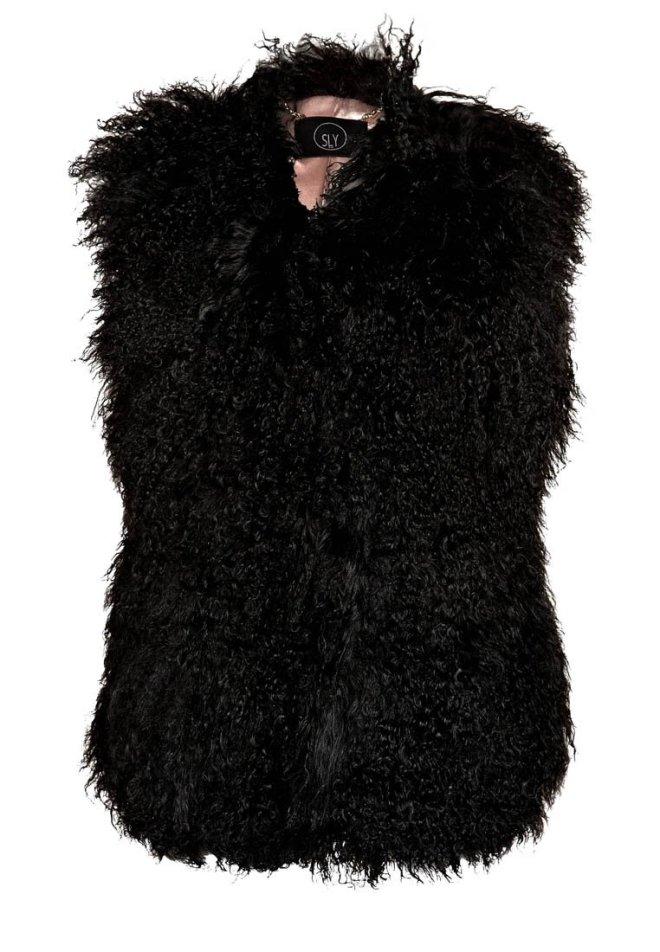 SLY 010 Smanicato nero, gilet di lana nero, gilet di eco pelliccia, gielt di pelliccia ecologica, gilet di lana, zalando