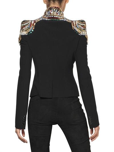 alexander mcqueen, giacca gioiello, giacca con applicazioni spalle, giacca gioiello, www.luisaviaroma.com, luisa via roma,  luisaviaroma