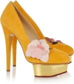 CHARLOTTE OLYMPIA The Dolly suede platform pumps-scarpe-gialle