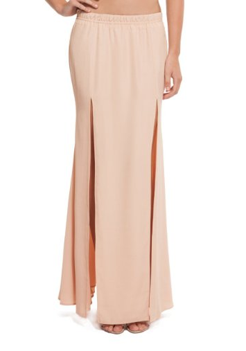 gonna doppio spacco, guess by marciano, skirt double slit, guess, gonna lunga con spacco doppio, maxi skirt, gonna biege, gonna rosa, flake, laminata, laminato, fashion blog, fashion blogger, amazon