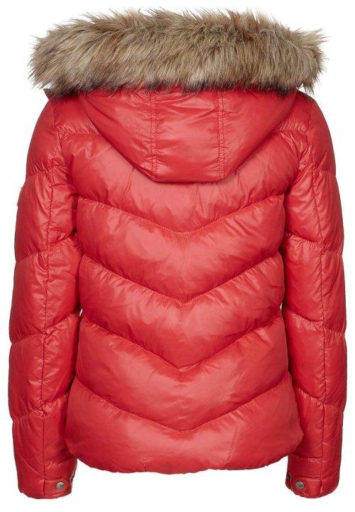 Hilfiger Denim MARTINA, Piumino. rosso, giubbotto rosso, giubbotto con cappuccio di pelliccia, zalando, giubbotto pelliccia sintetica, fashion blog, fashion blogger
