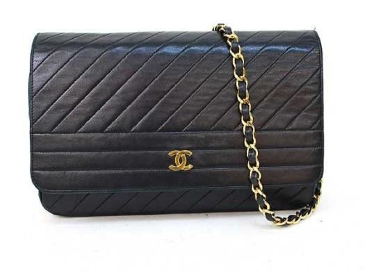 borsa chanel, chanel vintage, Chanel BlackLambSkin Gold Chain Shoulder Flap Bag, borse chanel shop online