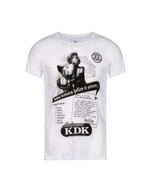 la kasa dei kolori, kdk, yoox, t-shirt bianca stampe, t-shirt bianca uomo
