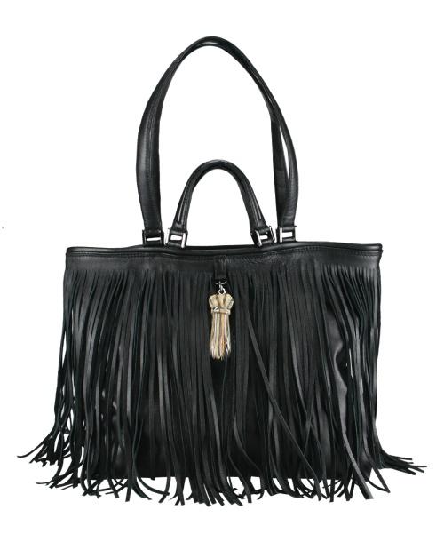 marilla way, borsa con frange, borsa in pelle nera, 6277 MARILLAWAY, Borsa Double Chain Big