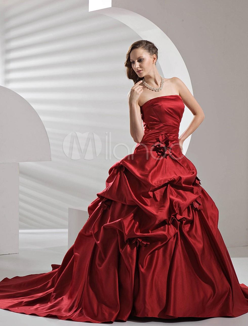 Abito da sposa in raso senza spalline con strascico, abito da sposa rosso, milanoo