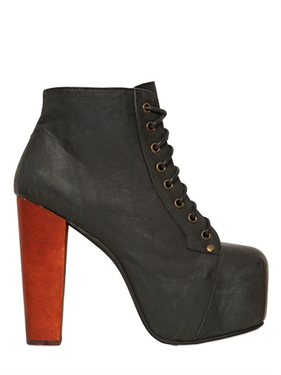 JEFFREY CAMPBELL STIVALI BASSI %22LITA%22 IN PELLE 120MM