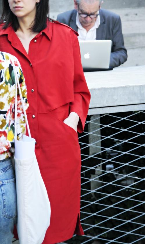 abito rosso vintage, fuori salone, salone del mobile, milan street style, fashion blogger