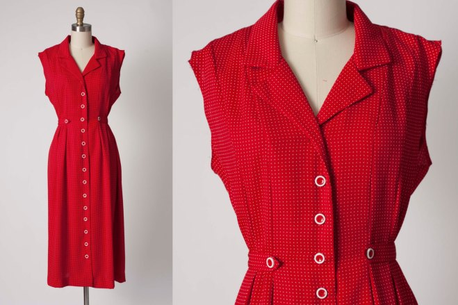 SAG Harbor-Vintage, abito rosso vintage, abito a pois vintage, abiti anni 80, etsy